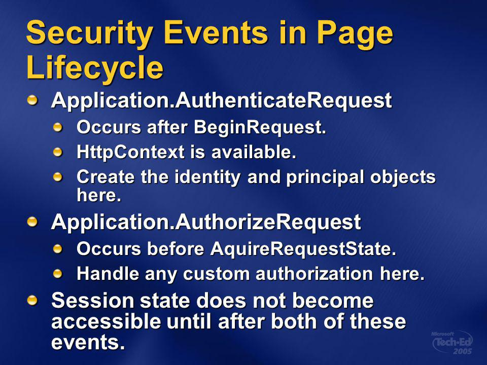 Security Events in Page Lifecycle Application.AuthenticateRequest Occurs after BeginRequest.