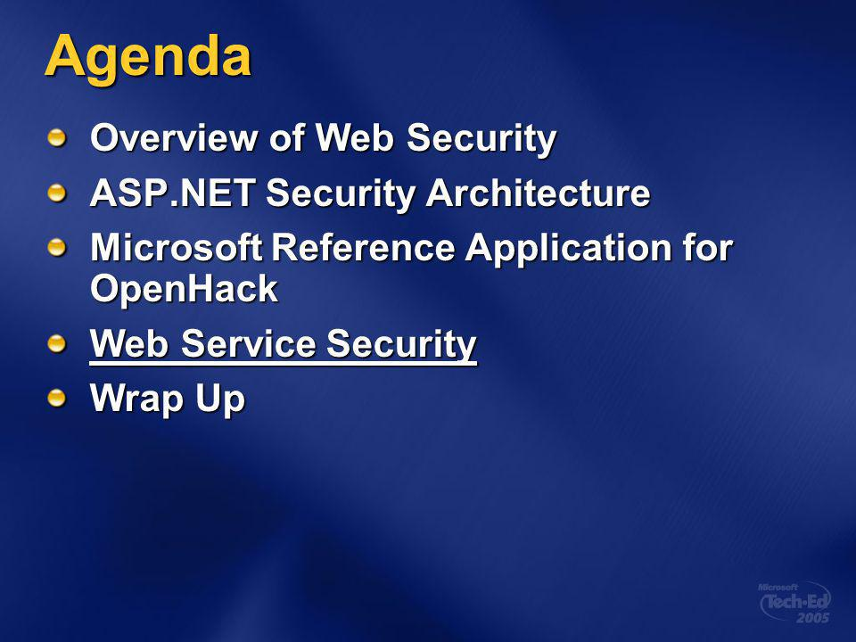 Agenda Overview of Web Security ASP.NET Security Architecture Microsoft Reference Application for OpenHack Web Service Security Wrap Up