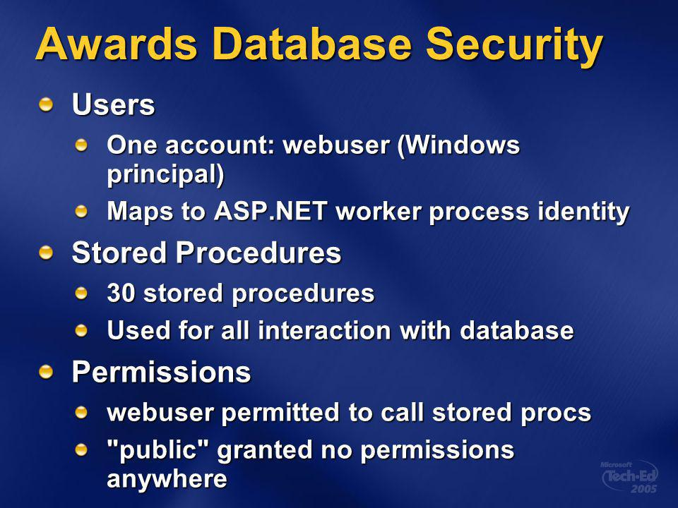 Awards Database Security Users One account: webuser (Windows principal) Maps to ASP.NET worker process identity Stored Procedures 30 stored procedures Used for all interaction with database Permissions webuser permitted to call stored procs public granted no permissions anywhere