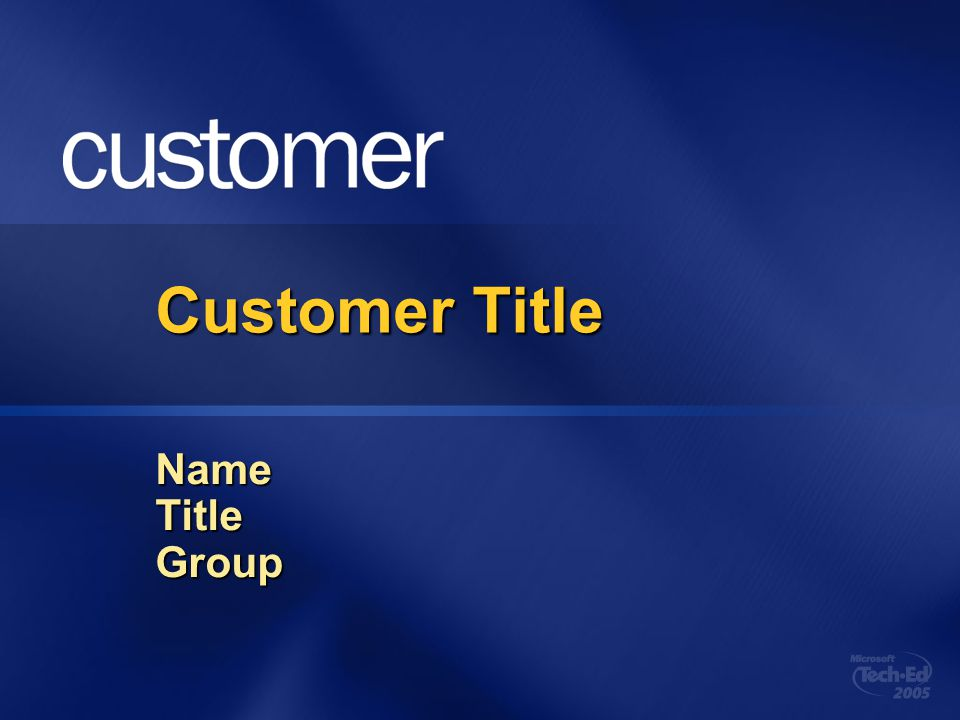 Customer Title Name Title Group