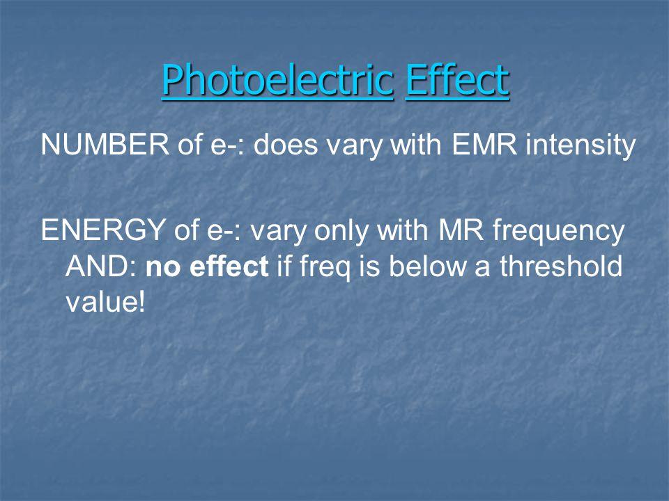 e-e- e-e- e-e- Einstein Photoelectric Effect E hv - E e - = Ionization Energy hvhv e-e-
