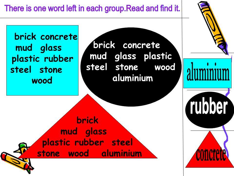 brick concrete mud glass plastic rubber steel stone wood brick mud glass plastic rubber steel stone wood aluminium brick concrete mud glass plastic steel stone wood aluminium