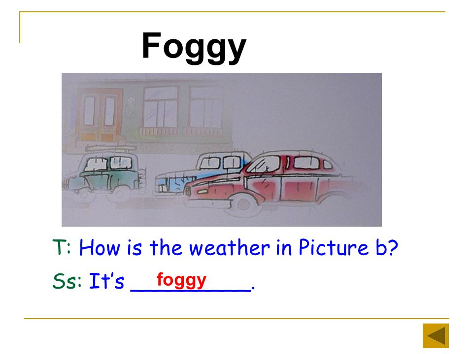 Sunny T: What's the weather like in Picture d Ss: It's _________. sunny