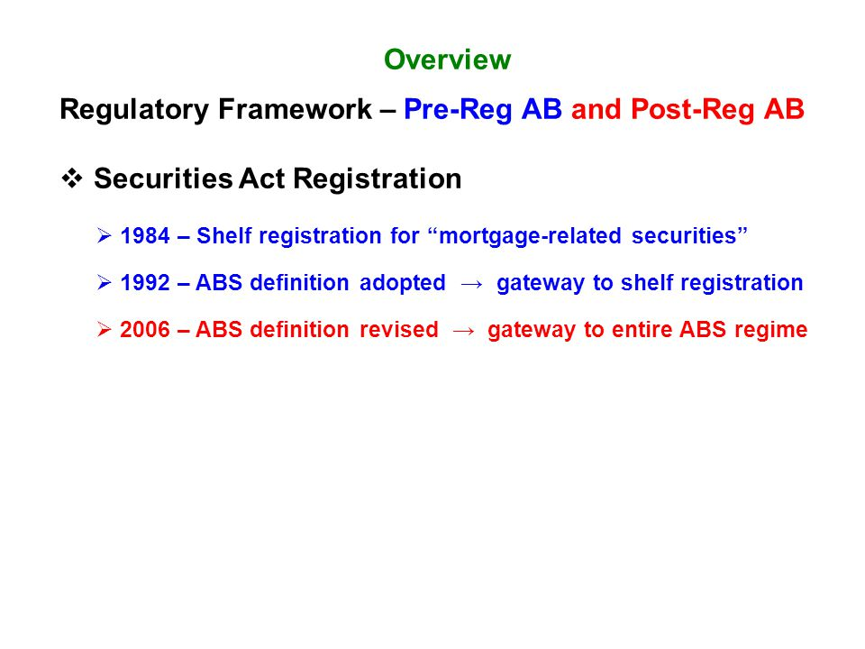 "Overview Regulatory Framework – Pre-Reg AB and Post-Reg AB  Securities Act Registration  1984 – Shelf registration for ""mortgage-related securities"""