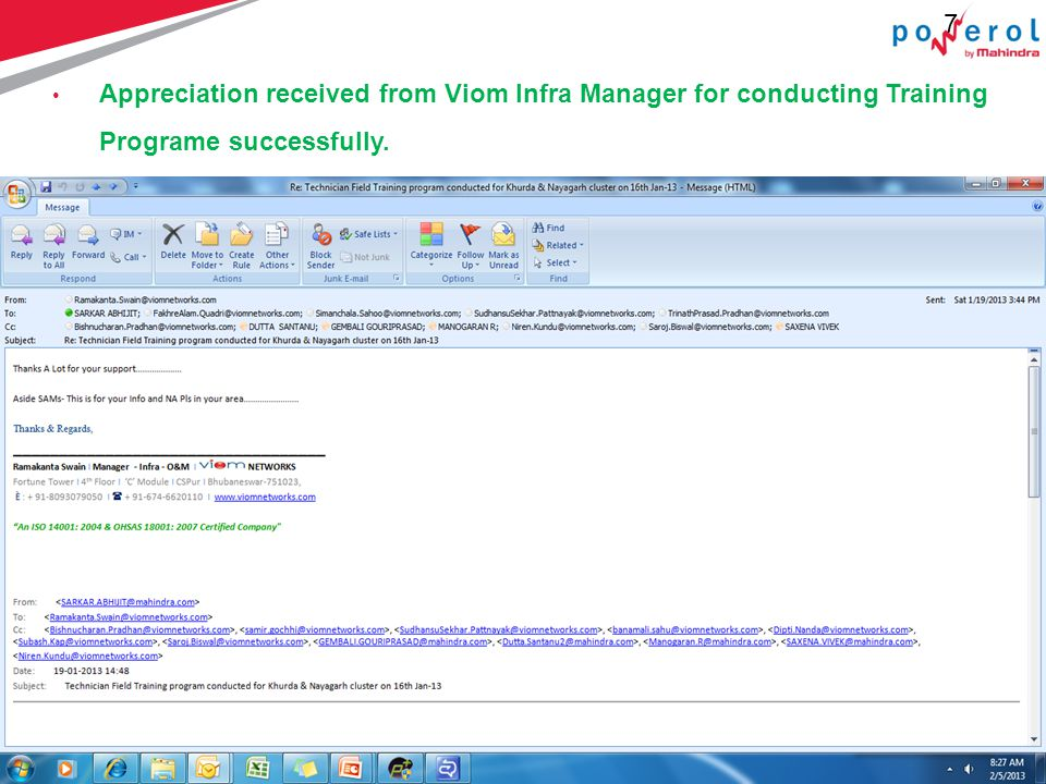 7 7 Appreciation received from Viom Infra Manager for conducting Training Programe successfully.