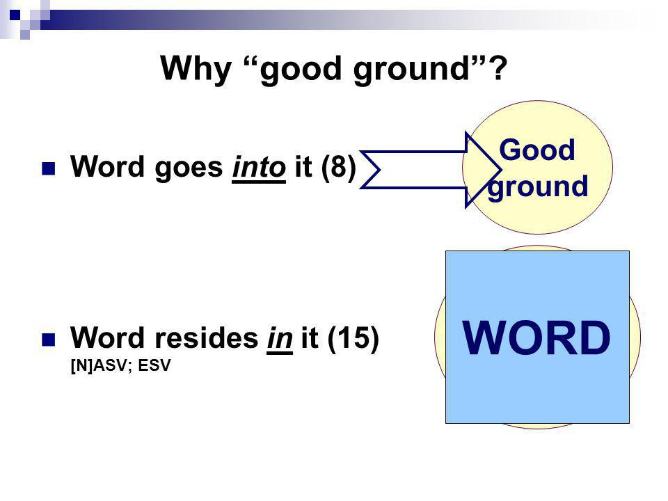 "Why ""good ground""? Word goes into it (8) Word resides in it (15) [N]ASV; ESV Good ground Good ground WORD"