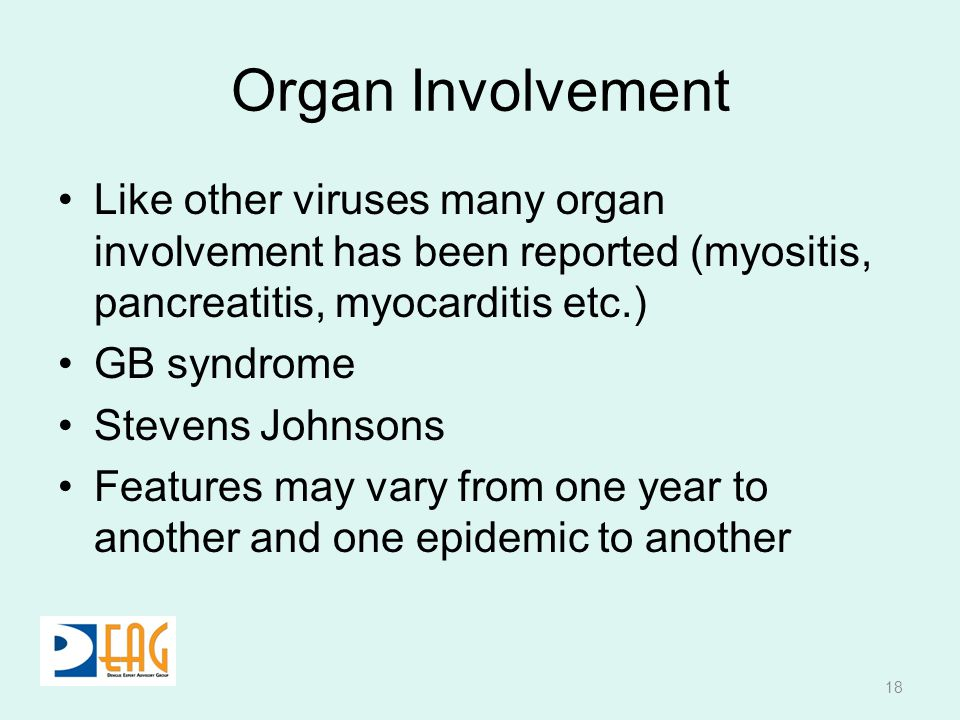 Organ Involvement Like other viruses many organ involvement has been reported (myositis, pancreatitis, myocarditis etc.) GB syndrome Stevens Johnsons
