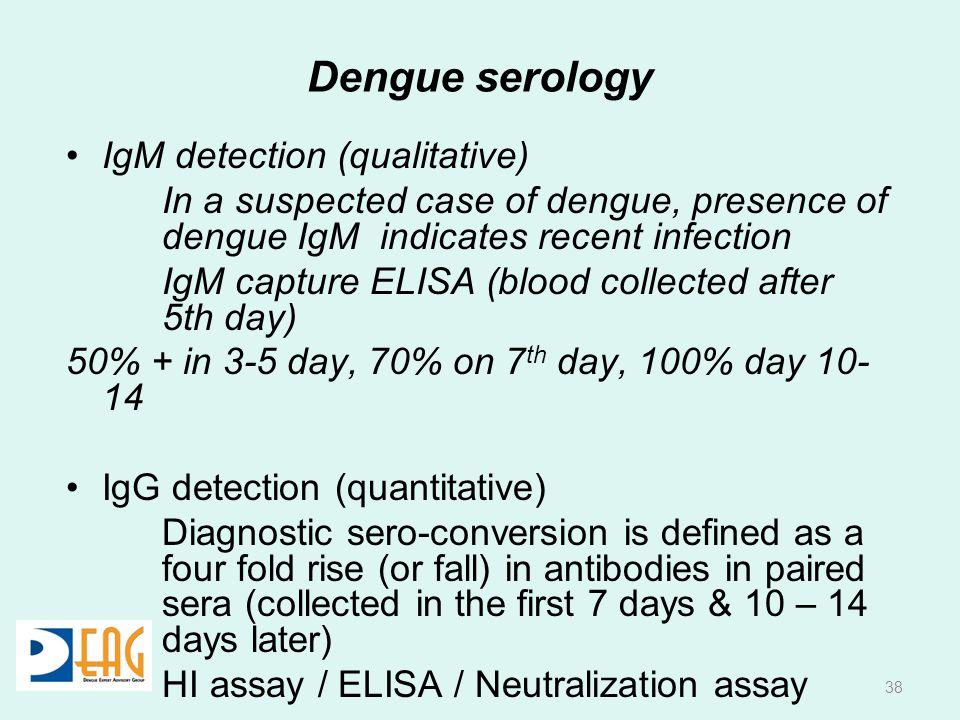 Dengue serology IgM detection (qualitative) In a suspected case of dengue, presence of dengue IgM indicates recent infection IgM capture ELISA (blood