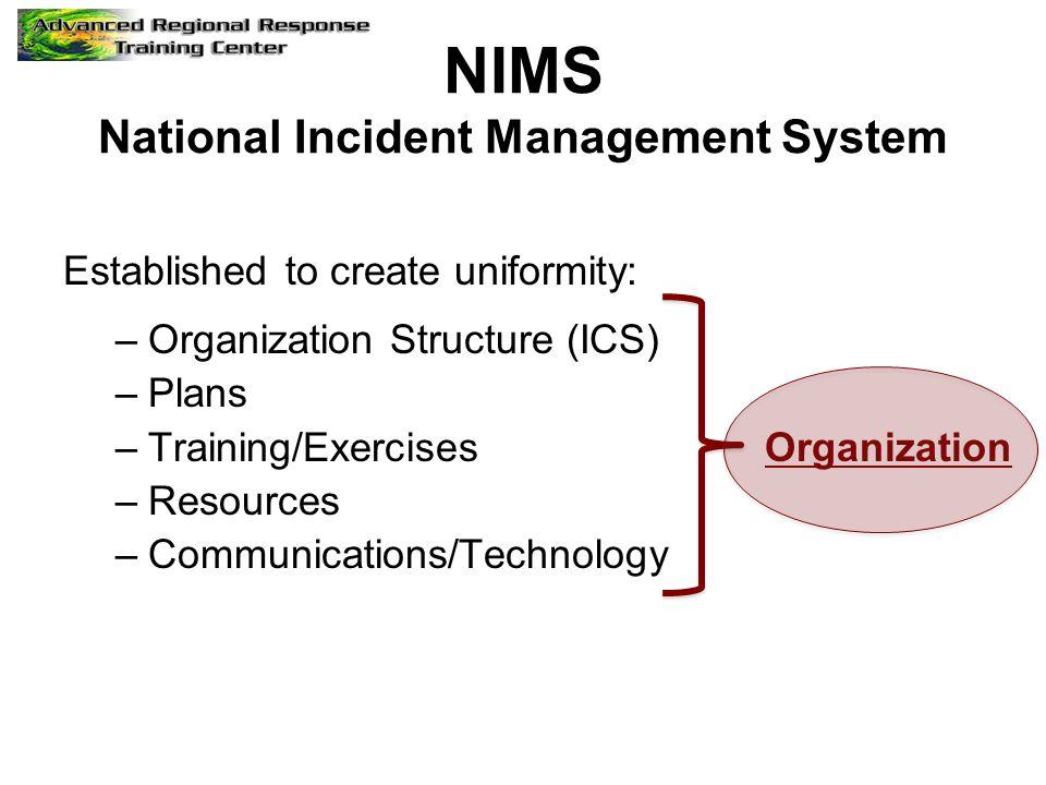 NIMS National Incident Management System Established to create uniformity: –Organization Structure (ICS) –Plans –Training/Exercises Organization –Reso