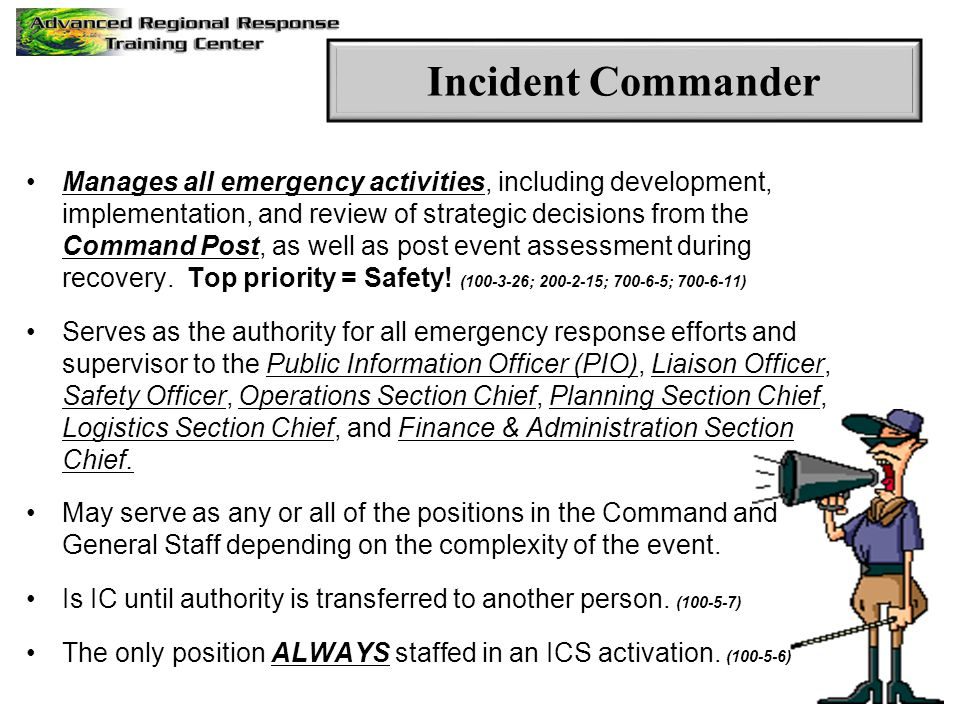 Manages all emergency activities, including development, implementation, and review of strategic decisions from the Command Post, as well as post even