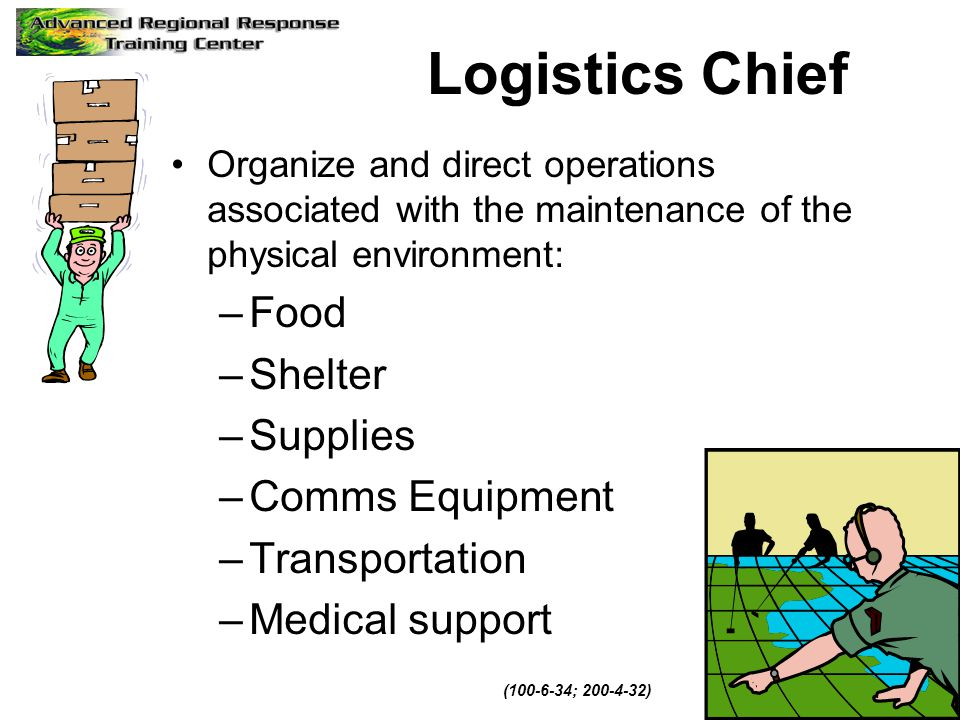 Logistics Chief Organize and direct operations associated with the maintenance of the physical environment: –Food –Shelter –Supplies –Comms Equipment