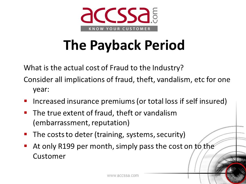 The Payback Period What is the actual cost of Fraud to the Industry.