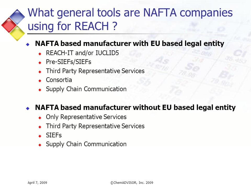 What general tools are NAFTA companies using for REACH .