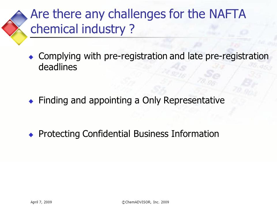 Are there any challenges for the NAFTA chemical industry .