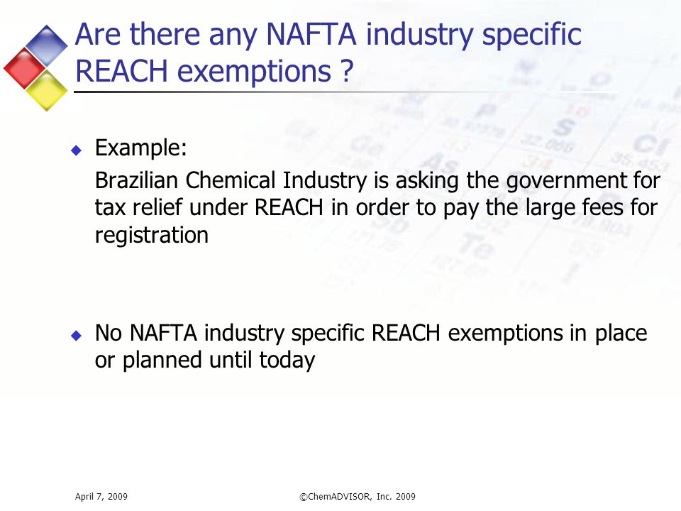 Are there any NAFTA industry specific REACH exemptions .