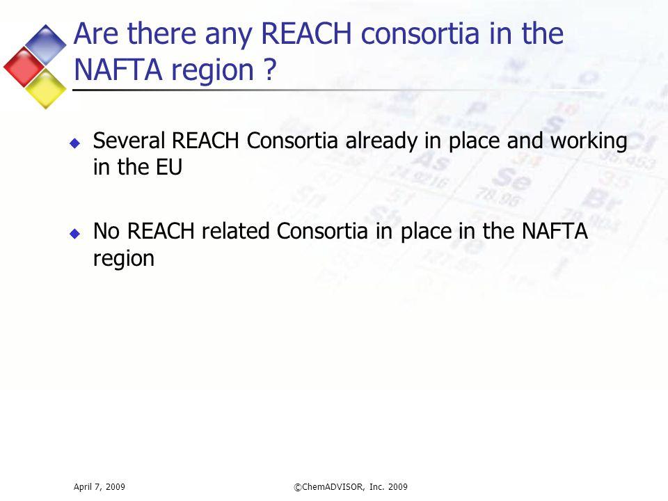 Are there any REACH consortia in the NAFTA region .