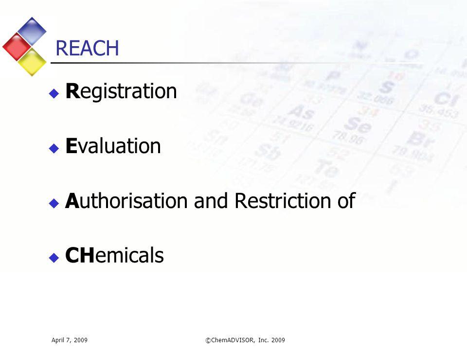 REACH April 7, 2009©ChemADVISOR, Inc.