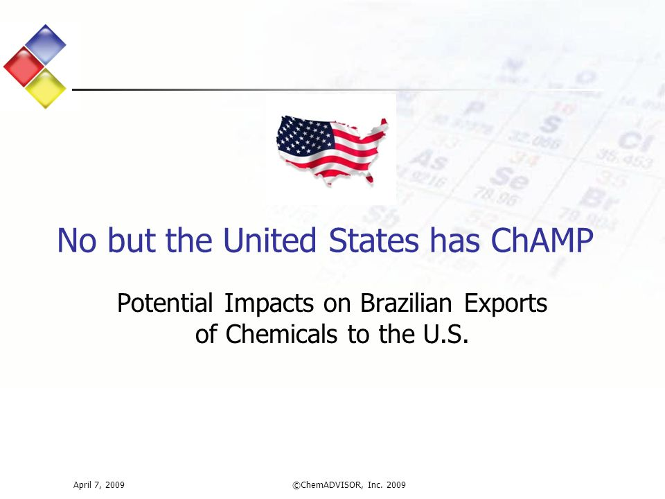 Potential Impacts on Brazilian Exports of Chemicals to the U.S.