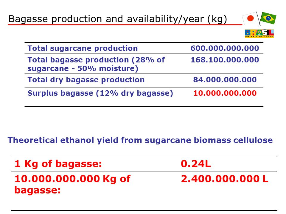 Total sugarcane production600.000.000.000 Total bagasse production (28% of sugarcane - 50% moisture) 168.100.000.000 Total dry bagasse production84.000.000.000 Surplus bagasse (12% dry bagasse)10.000.000.000 Theoretical ethanol yield from sugarcane biomass cellulose 1 Kg of bagasse:0.24L 10.000.000.000 Kg of bagasse: 2.400.000.000 L Bagasse production and availability/year (kg)