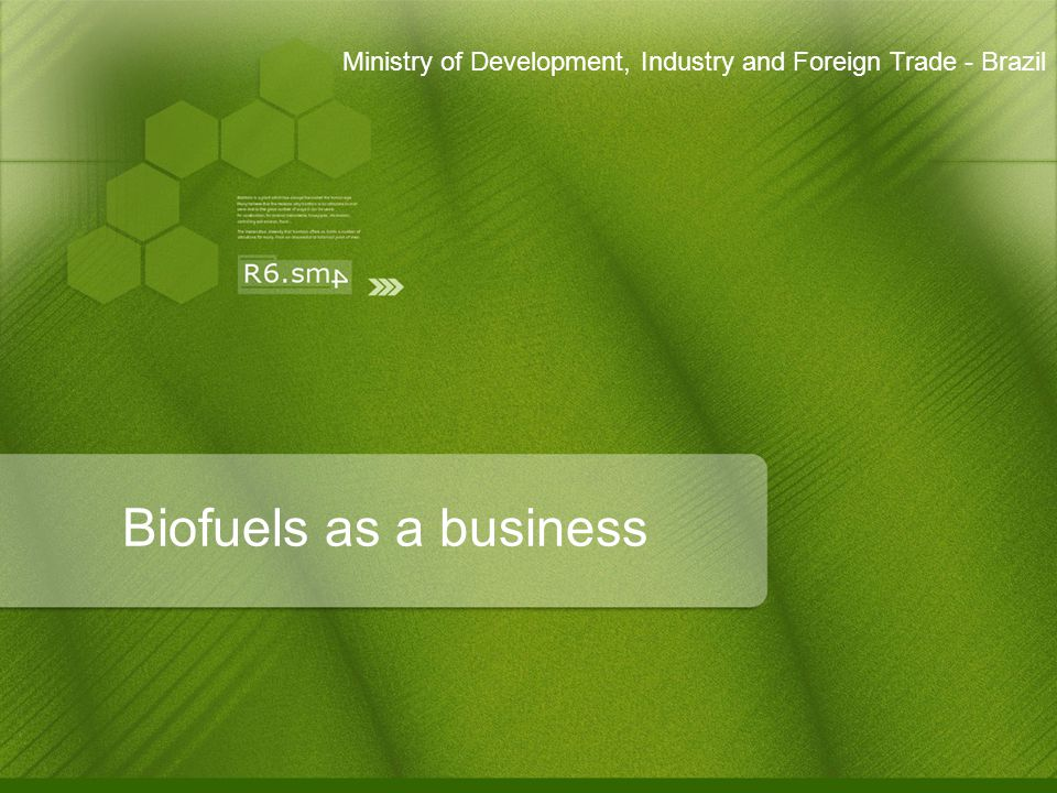 Biofuels as a business Ministry of Development, Industry and Foreign Trade - Brazil