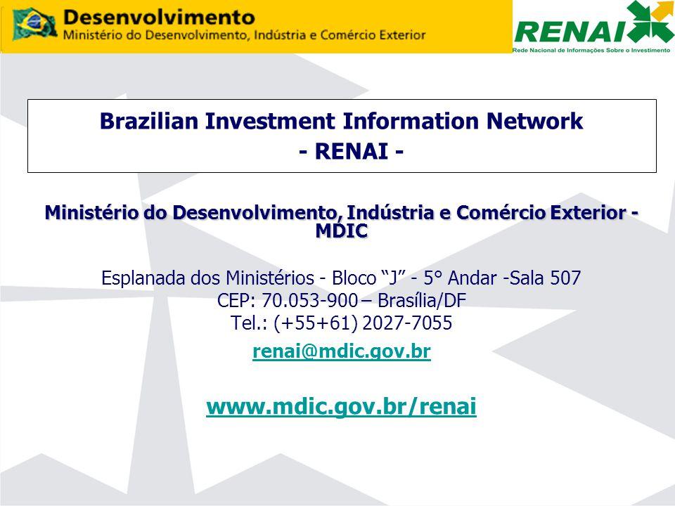 Brazilian Investment Information Network - RENAI - Ministério do Desenvolvimento, Indústria e Comércio Exterior - MDIC Esplanada dos Ministérios - Bloco J - 5° Andar -Sala 507 CEP: 70.053-900 – Brasília/DF Tel.: (+55+61) 2027-7055 renai@mdic.gov.br www.mdic.gov.br/renai