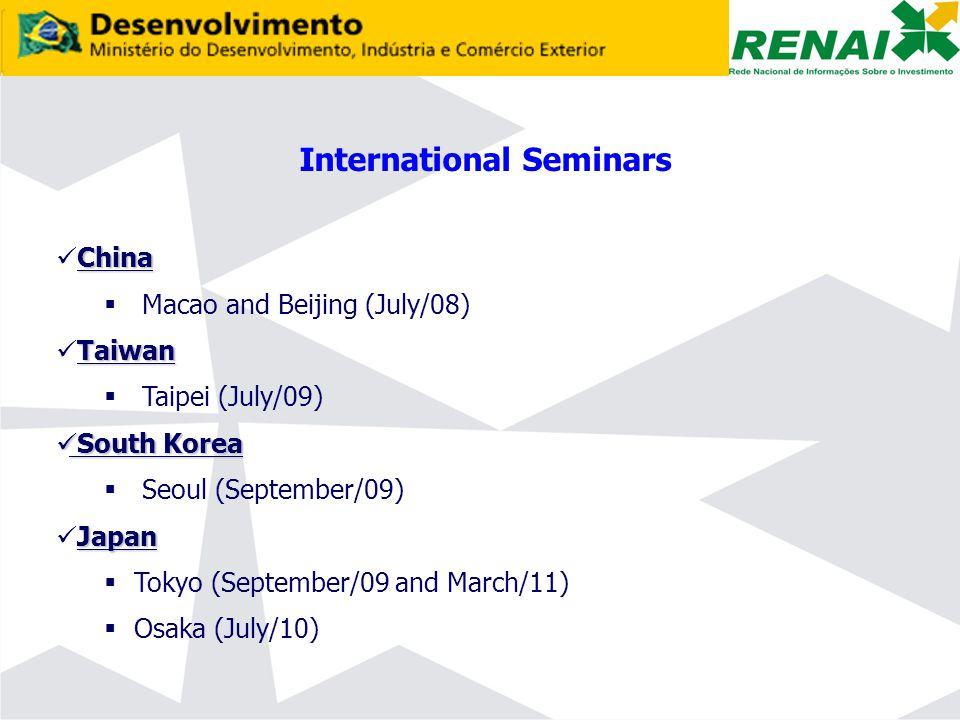 International Seminars China  Macao and Beijing (July/08) Taiwan  Taipei (July/09) South Korea South Korea  Seoul (September/09) Japan  Tokyo (September/09 and March/11)  Osaka (July/10)