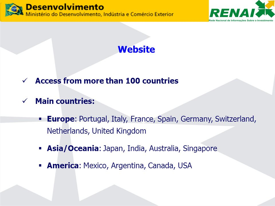 Website Access from more than 100 countries Main countries:  Europe: Portugal, Italy, France, Spain, Germany, Switzerland, Netherlands, United Kingdom  Asia/Oceania: Japan, India, Australia, Singapore  America: Mexico, Argentina, Canada, USA