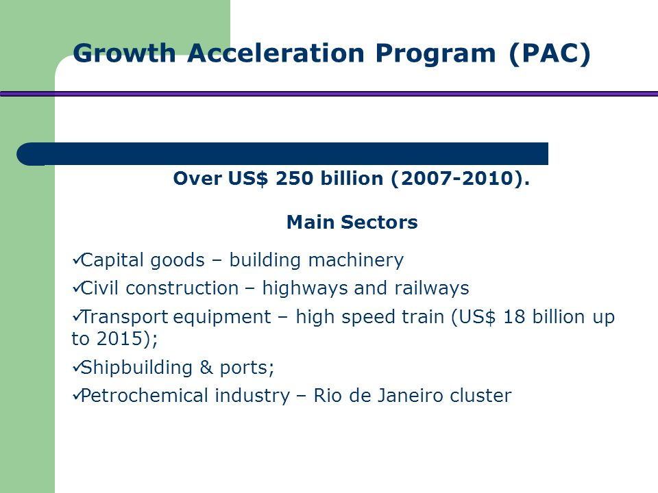 Infrastructure improvement: airports, roads and public transportation in 12 cities; Up to US$ 1,7 billion in stadiums; Infrastructure for tourism; Services.