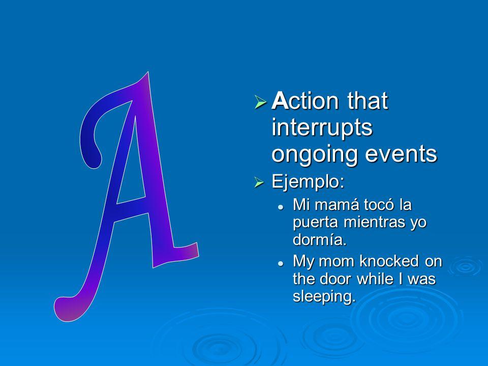  Action that interrupts ongoing events  Ejemplo: Mi mamá tocó la puerta mientras yo dormía. My mom knocked on the door while I was sleeping.
