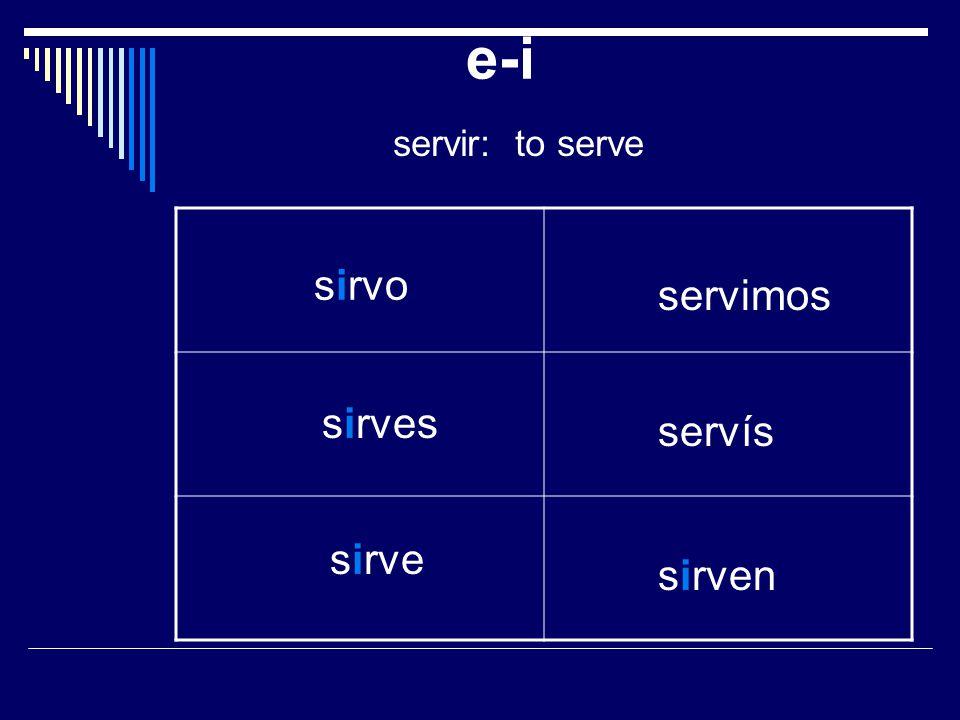 e-i servir: to serve sirvo sirves sirve servimos servís sirven