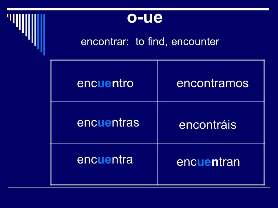 o-ue encontrar: to find, encounter encuentro encuentras encuentra encontramos encontráis encuentran