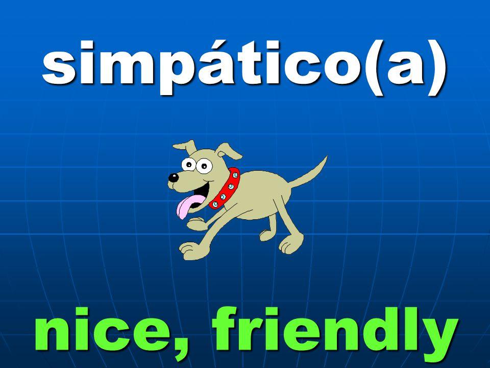 simpático(a) nice, friendly