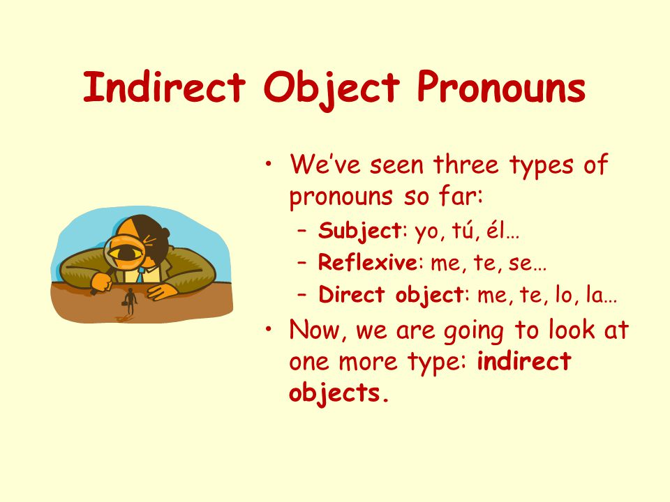 Indirect Object Pronouns We've seen three types of pronouns so far: –Subject: yo, tú, él… –Reflexive: me, te, se… –Direct object: me, te, lo, la… Now, we are going to look at one more type: indirect objects.