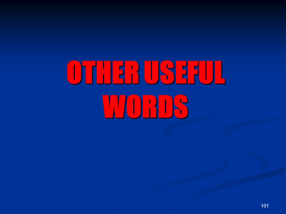 101 OTHER USEFUL WORDS