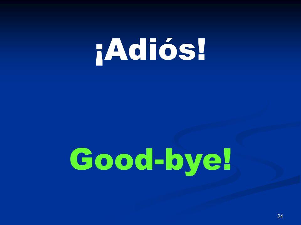 24 ¡Adiós! Good-bye!