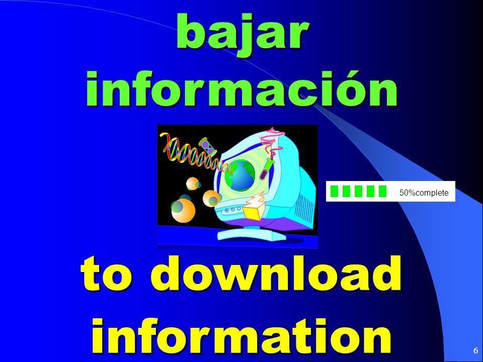 6bajar información to download information 50%complete