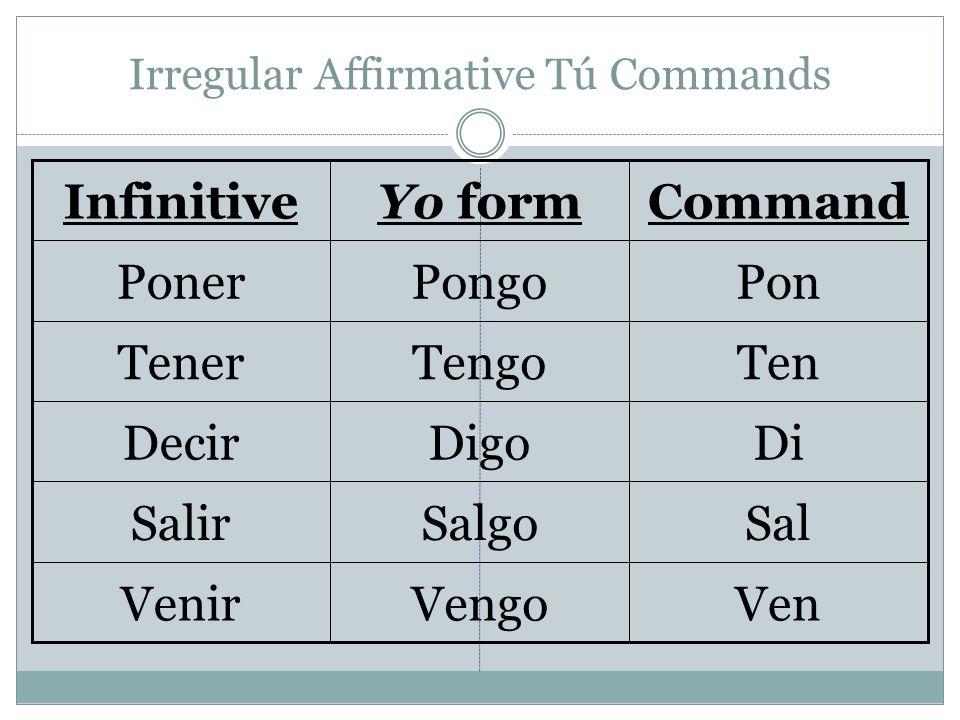 Irregular Affirmative Tú Commands VenVengoVenir SalSalgoSalir DiDigoDecir TenTengoTener PonPongoPoner CommandYo formInfinitive