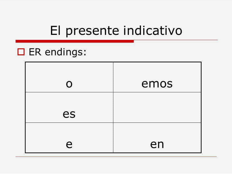 El presente indicativo  ER endings: ene es emoso