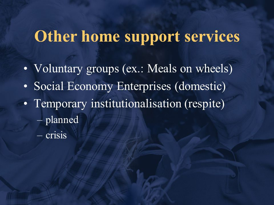 Other home support services Voluntary groups (ex.: Meals on wheels) Social Economy Enterprises (domestic) Temporary institutionalisation (respite) –planned –crisis