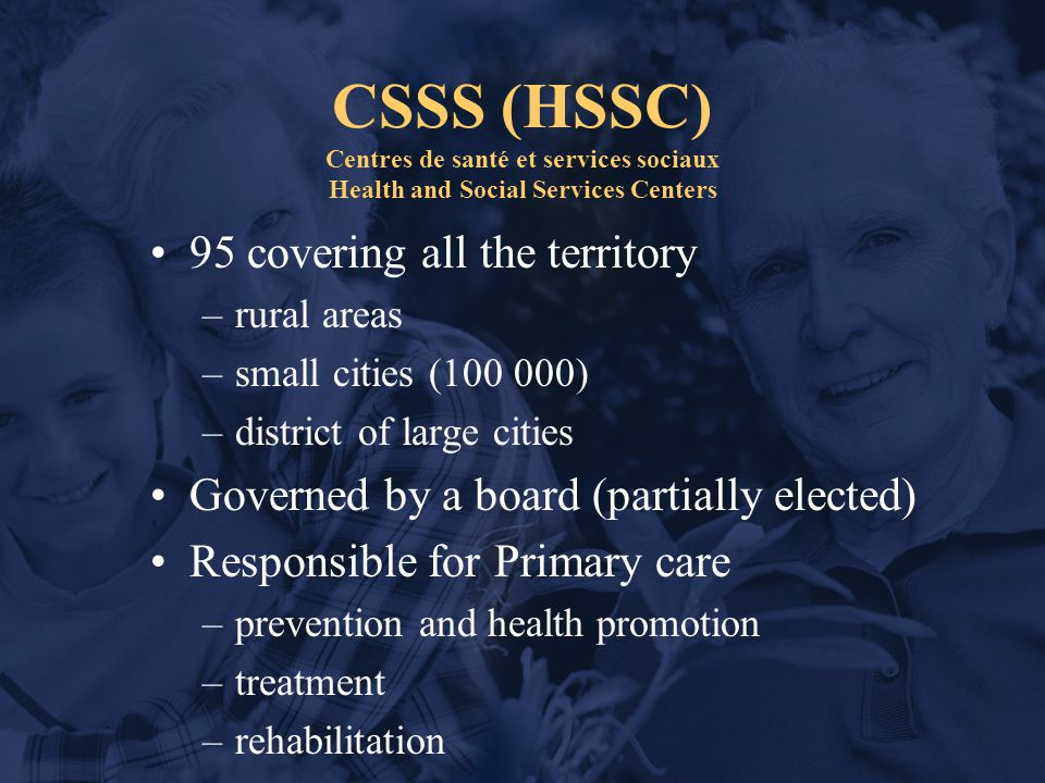 CSSS (HSSC) Centres de santé et services sociaux Health and Social Services Centers 95 covering all the territory –rural areas –small cities (100 000) –district of large cities Governed by a board (partially elected) Responsible for Primary care –prevention and health promotion –treatment –rehabilitation