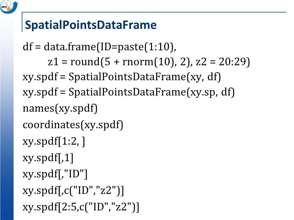 SpatialPointsDataFrame df = data.frame(ID=paste(1:10), z1 = round(5 + rnorm(10), 2), z2 = 20:29) xy.spdf = SpatialPointsDataFrame(xy, df) xy.spdf = Sp