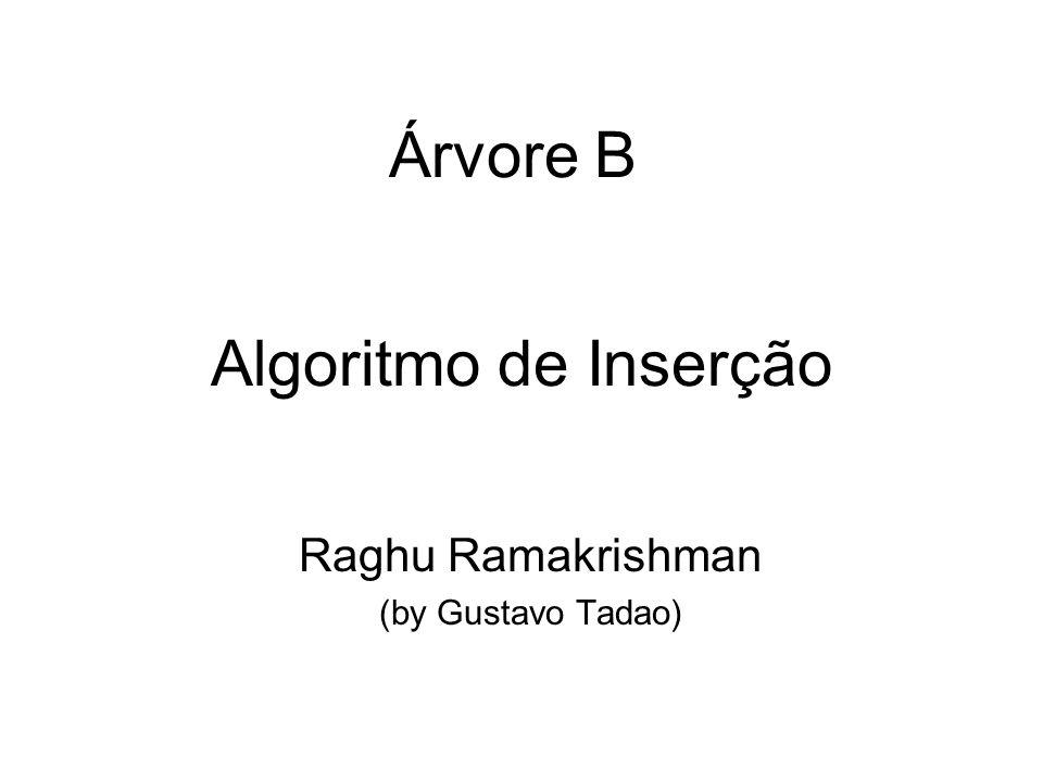 Algoritmo de Inserção Raghu Ramakrishman (by Gustavo Tadao) Árvore B