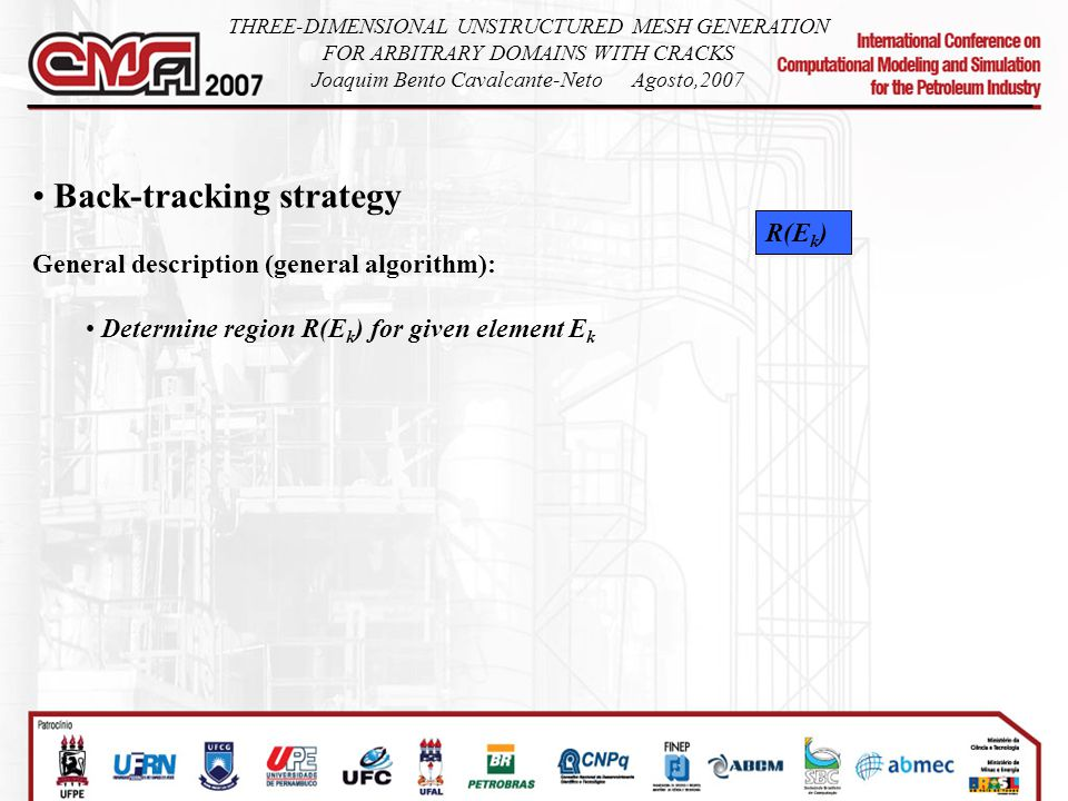 Back-tracking strategy General description (general algorithm): Determine region R(E k ) for given element E k R(E k ) THREE-DIMENSIONAL UNSTRUCTURED MESH GENERATION FOR ARBITRARY DOMAINS WITH CRACKS Joaquim Bento Cavalcante-NetoAgosto,2007