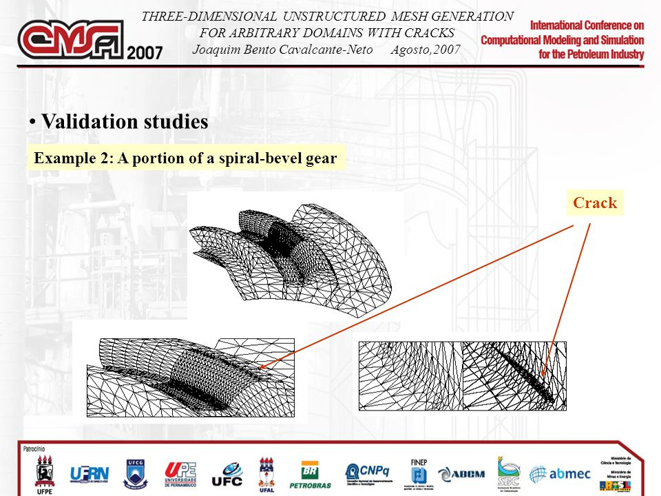 Validation studies Example 2: A portion of a spiral-bevel gear THREE-DIMENSIONAL UNSTRUCTURED MESH GENERATION FOR ARBITRARY DOMAINS WITH CRACKS Joaquim Bento Cavalcante-NetoAgosto,2007 Crack
