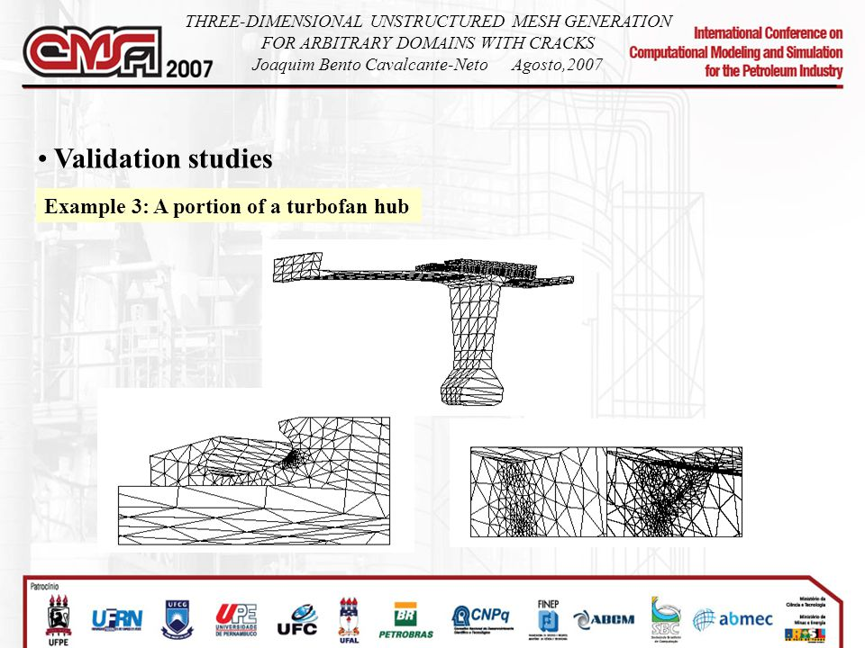 Validation studies Example 3: A portion of a turbofan hub THREE-DIMENSIONAL UNSTRUCTURED MESH GENERATION FOR ARBITRARY DOMAINS WITH CRACKS Joaquim Bento Cavalcante-NetoAgosto,2007