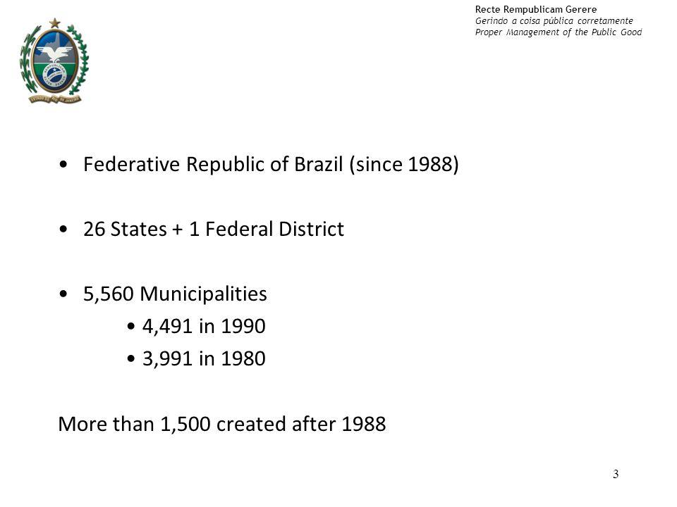 Recte Rempublicam Gerere Gerindo a coisa pública corretamente Proper Management of the Public Good Federative Republic of Brazil (since 1988) 26 States + 1 Federal District 5,560 Municipalities 4,491 in 1990 3,991 in 1980 More than 1,500 created after 1988 3