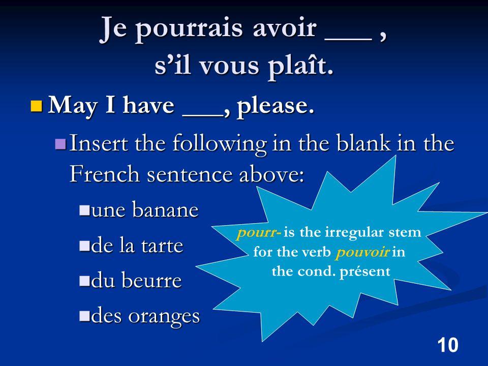 10 Je pourrais avoir ___, s'il vous plaît. May I have ___, please.
