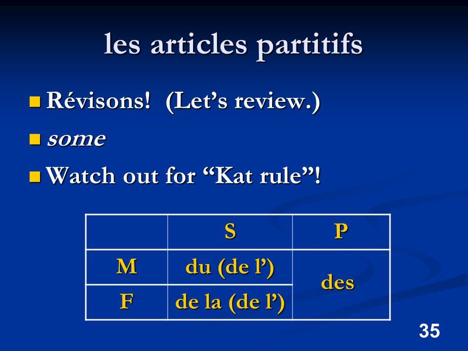 35 les articles partitifs Révisons. (Let's review.) Révisons.