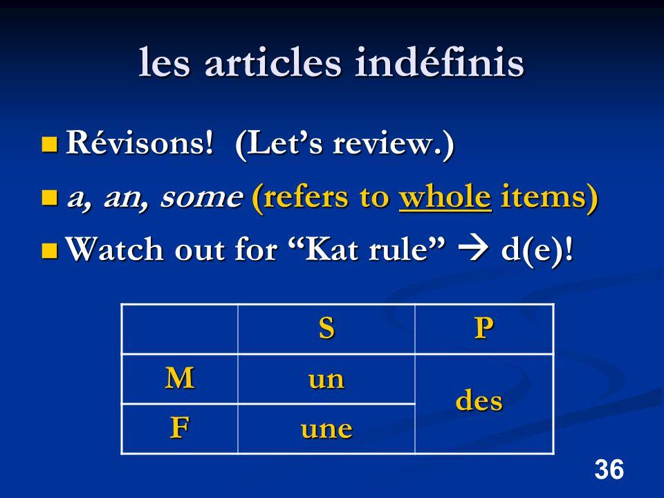 36 les articles indéfinis Révisons. (Let's review.) Révisons.