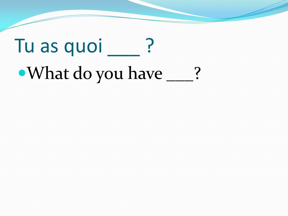Tu as quoi ___ ? What do you have ___?